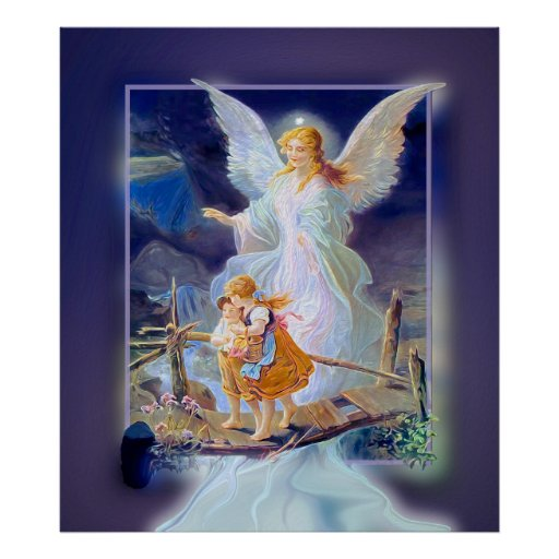Anjo-da-guarda, crianças e ponte (exclusivos) pôsteres