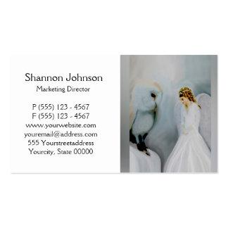 Anjo-da-guarda do cuidado e coruja branca cartão de visita