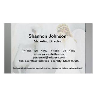 Anjo-da-guarda do cuidado e coruja branca modelo cartões de visitas