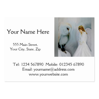 Anjo-da-guarda do cuidado e coruja branca cartão de visita grande