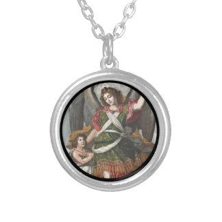 Anjo-da-guarda espanhol e criança colar banhado a prata