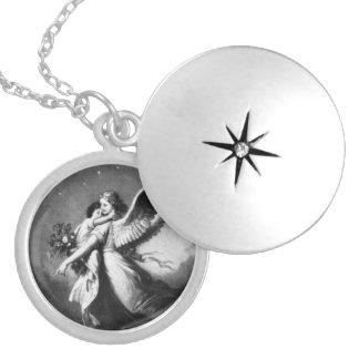 Anjo-da-guarda na noite colar medalhão