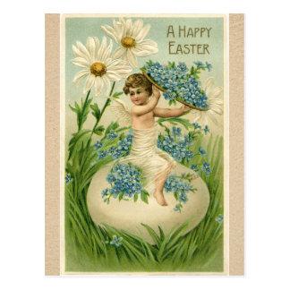 Anjo da páscoa do vintage que senta-se no ovo com cartão postal