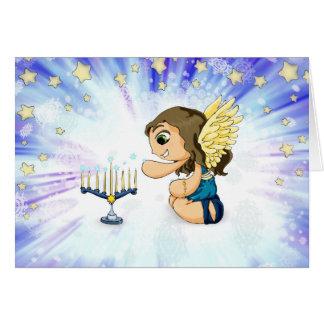 Anjo de Menorah Cartão Comemorativo