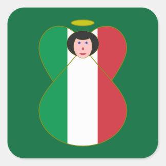 Anjo do cabelo preto da bandeira italiana adesivo em forma quadrada