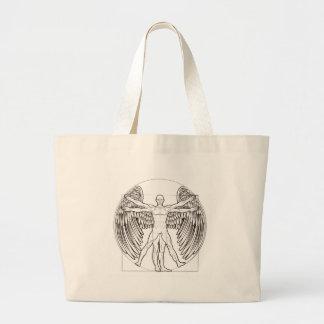 Anjo do homem de Vitruvian Bolsa Tote Grande