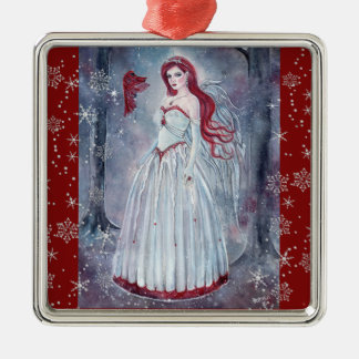 Anjo do inverno com enfeites de natal cardinais