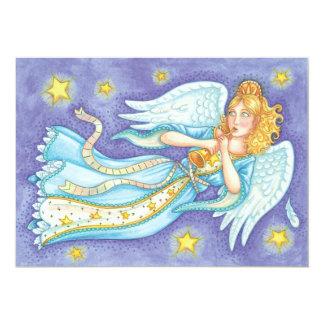 Anjo do músico do Natal dos desenhos animados que Convite 12.7 X 17.78cm