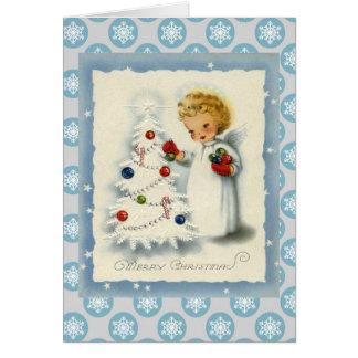 Anjo do natal vintage & cartão branco da árvore