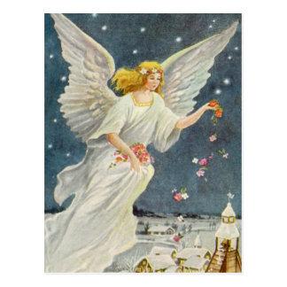 Anjo do Victorian do natal vintage com rosas das Cartao Postal