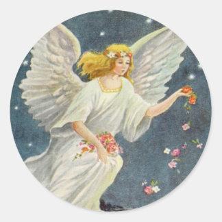 Anjo do Victorian do natal vintage com rosas das e Adesivo Em Formato Redondo