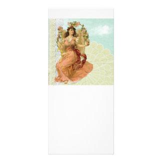 Anjo do vintage com laço 10.16 x 22.86cm panfleto