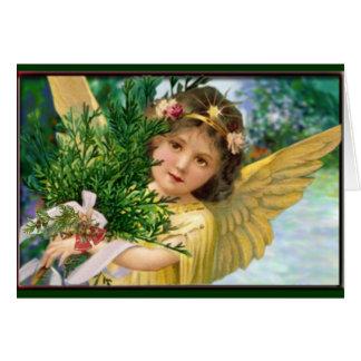 Anjo do vintage no cartão do feriado do Natal da