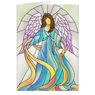 Anjo do vitral cartão comemorativo