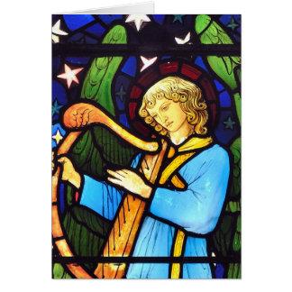 Anjo do vitral de William Morris Cartão Comemorativo