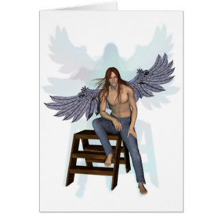 Anjo na calças de ganga cartão comemorativo