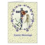 Anjo Praying do vintage. Cartões de páscoa cristão