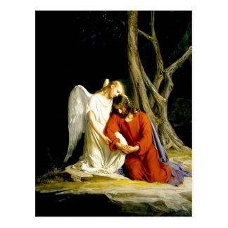 Anjo que consola Jesus no jardim Cartão Postal