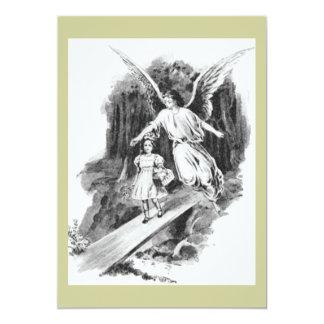 Anjo que guarda uma criança da menina convite 12.7 x 17.78cm