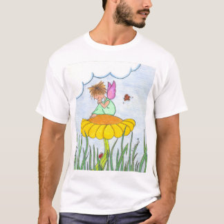 Anjo sonolento na camisa da flor