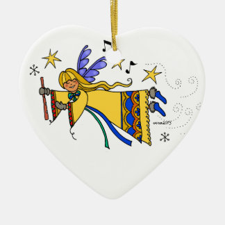 Anjo ucraniano da arte popular do Feliz Natal Ornamento De Cerâmica