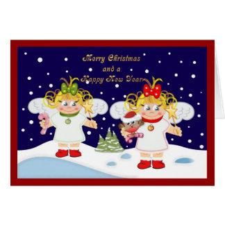 Anjos bonitos do Natal e cartão de texto dourado