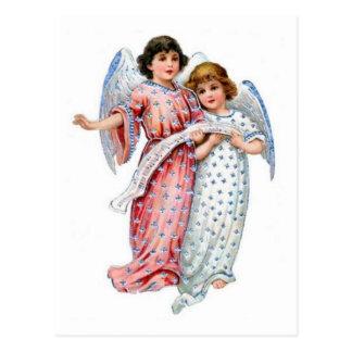 Anjos com vestidos do vintage e notas da música cartao postal