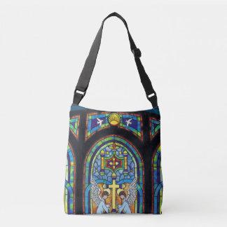 Anjos da cruz da janela de vidro da mancha da bolsa ajustável