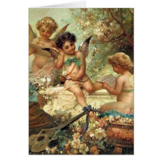 Anjos da música do Natal do Victorian do vintage Cartão Comemorativo