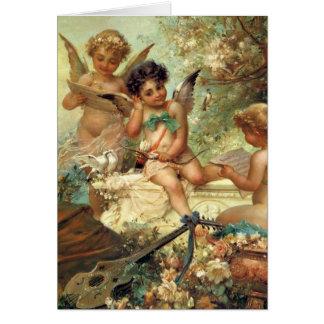 Anjos da música por Hans Zatzka, arte do Victorian Cartão Comemorativo