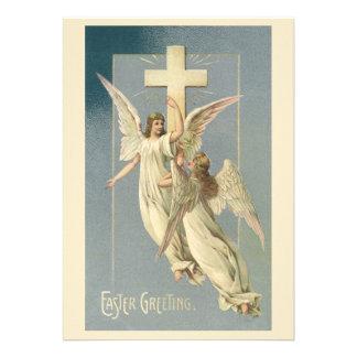 Anjos da páscoa do Victorian do vintage com uma cr Convites
