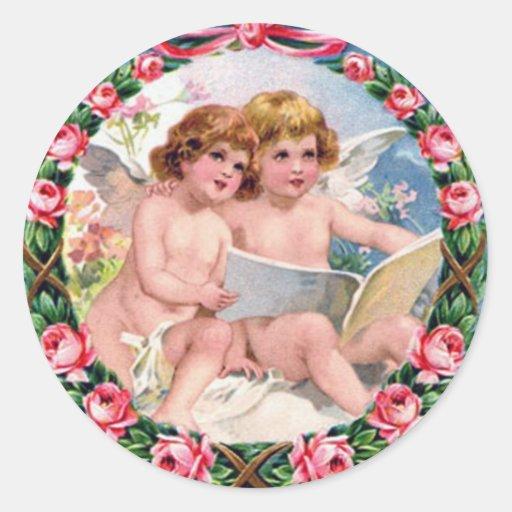 Anjos do dia dos namorados do vintage adesivos redondos