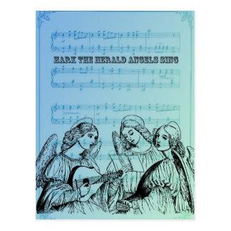 Anjos do Musical do vintage Cartão Postal