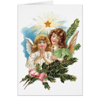 Anjos do natal vintage cartão comemorativo