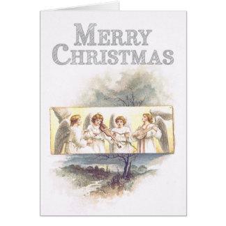 Anjos do paintinig do vintage que jogam o Natal da Cartão Comemorativo