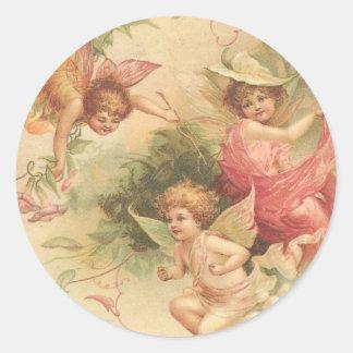 anjos do vintage adesivo em formato redondo