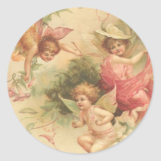 anjos do vintage adesivo redondo