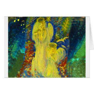 Anjos dourados do canto celestial cartão de Natal