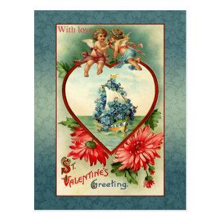 Anjos e miosótis dos namorados do vintage cartoes postais