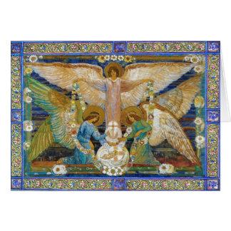 Anjos Garlanding o cristo infantil Cartão Comemorativo