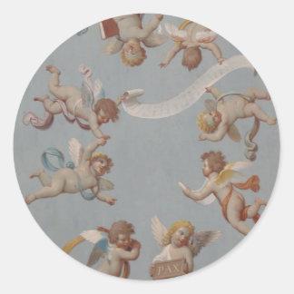 Anjos lunáticos do querubim do renascimento adesivo redondo