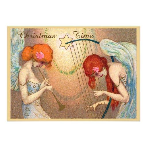 Anjos & tempo elegantes do Natal da música Convite