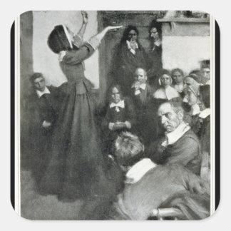 Anne Hutchinson que Preaching em sua casa em Adesivo Quadrado