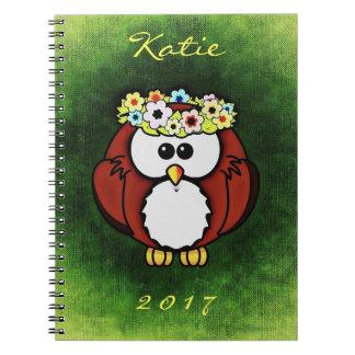 Ano bonito do nome do caderno da grinalda da flor