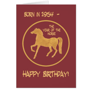 Ano chinês do cartão de aniversário do cavalo,