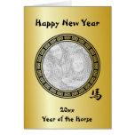 Ano chinês do símbolo do ano novo da BG do cavalo Cartões