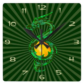 Ano chinês do verde de jade do dragão relógio quadrado