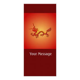 Ano chinês do vermelho e do ouro do dragão Rackcar Planfetos Informativos Coloridos