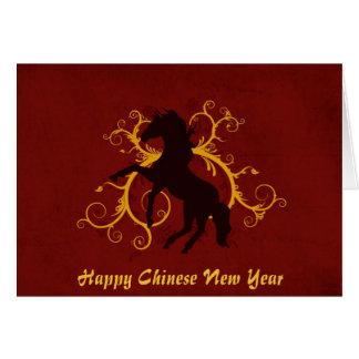 Ano chinês feliz do ano novo do cavalo cartão comemorativo