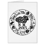 Ano da cabra 2015 da ram dos carneiros cartoes